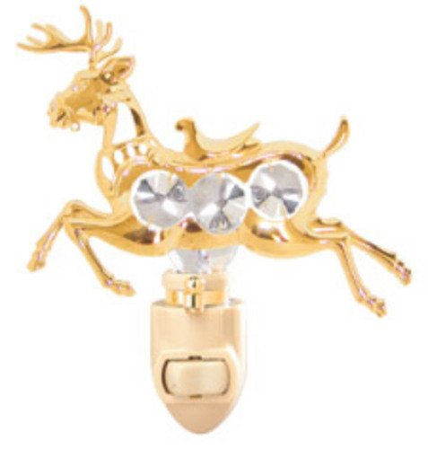 Deer in 24K Gold Plated Night Light..... With Clear Swarovski Austrian Crystal