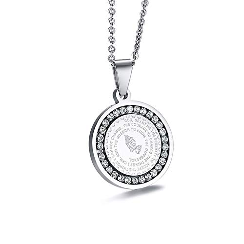 - WELRDFG Bible Verse Prayer Necklace with Free Chain Christian Jewelry Stainless Steel Praying Hands Coin Medal Pendant (D. Ladies Pendant, Stainless Steel)