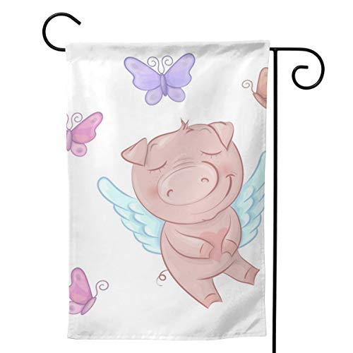 (Pinata Piggy Have Wings Butterfly Funny Decorative Outdoor Double Sided Garden Flag, House Yard Flag,Garden Yard Decorations,Seasonal Welcome Outdoor Flags)