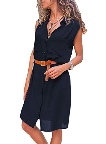 Sleeveless Belted Shirt Dress - Asvivid Womens Summer Sleeveless V Neck Button Down Pocket Ladies Knee Length T Shirt Dress M Navy
