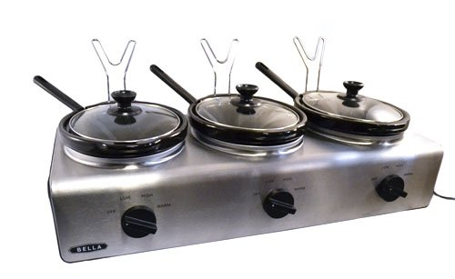 amazon com bella triple slow cooker buffet server kitchen dining rh amazon com tru triple slow cooker buffet server set chefman triple slow cooker buffet