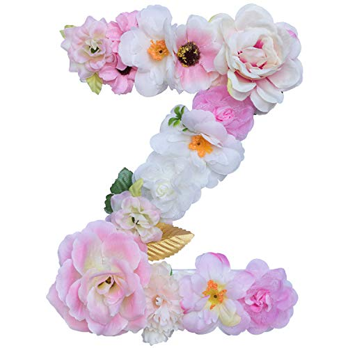 (Artificial Ornaments Floral Letter Pink Theme,8.3x5.9x0.6in, Hang on Front Door and Wall, Home Decoration, Suit For Baby Shower, Anniversary, Birthday Party, Baby Room, Wall Ornament (1 Letter, Z))