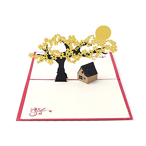 Arich 3D Pop UP Holiday Greeting Cards Cherry Tree House Christmas Thanksgiving Gift (Gift Card Tree Ideas)