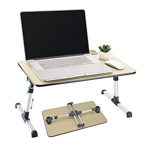 Height Adjustable Wooden Laptop Table, Bed Portable Standing Desk with Legs