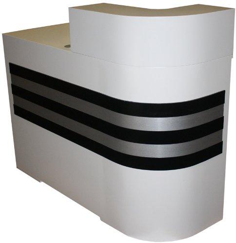 FIGARO kombinierbare Rezeptionstheke, Rundung rechts, Schleiflack weiss, Streifen schwarz-silber