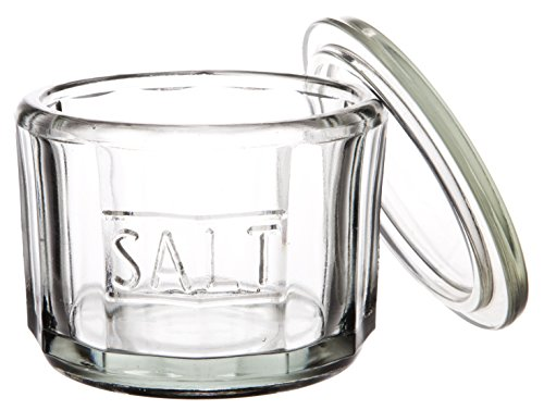 (Classic Casual Country Round Glass Salt Cellar with Lid, Sugar Bowl Herb Storage Organization Canister Spice Jar, Clear Pressed Glass, Medium, 4-inch, 12)