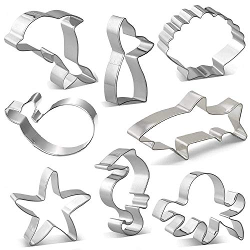 (Ocean Cookie Cutter Set, Ouioui 8 Pieces Stainless Steel Sea Fondant Mold - Shark, Mermaid, Whale, Dolphin, Octopus, Seahorse, Starfish and Seashell, Great for kids and Party)