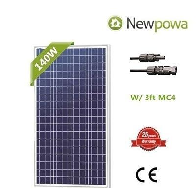 Newpowa 140W Watt 12V Solar Panel High Efficiency Poly Module RV Marine Boat Off Grid