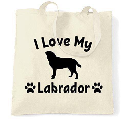 - Canvas Tote Shopping Bag I Love My Labrador Dog Lover Gift Cute Adorable Silouhette Dog Pet Animal Companion Cute Eco-Friendly Reusable Natural Handbag for Women