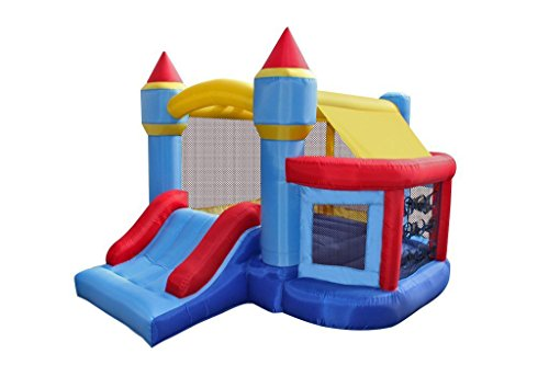 RetroJump Bounce House Castle Bouncy Inflatable Slide Bouncer Playhouse With Ball Pit Basketball Hoop With Blower