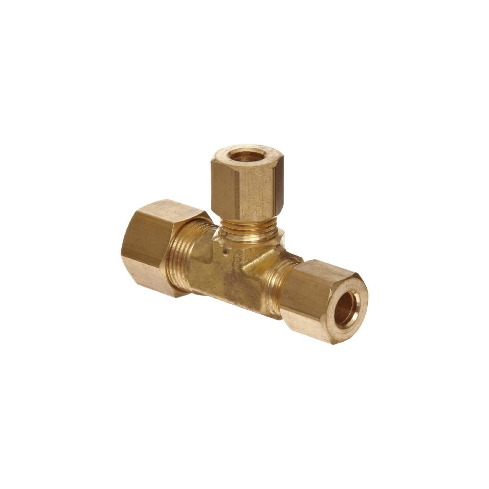 Anderson Metals Brass Tube Fitting, Reducing Tee, 3/8 x 1/4 x 1/4 Compression