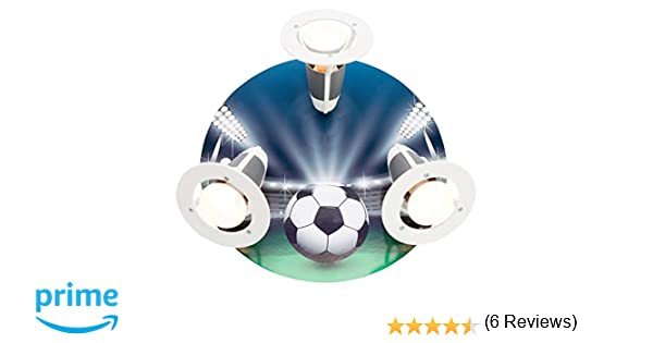 elobra – Lámpara de techo Fútbol Arena, madera, azul/verde, a + +