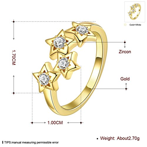 Mrsrui Star Crystal Statement Ring Gold Plated Jewelry Gift for Girls Austrian Crystal by Mrsrui (Image #2)
