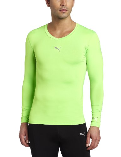 PUMA Men's Pb Lite Long Sleeve Compression V-Neck Tee, Fluo Green, Large