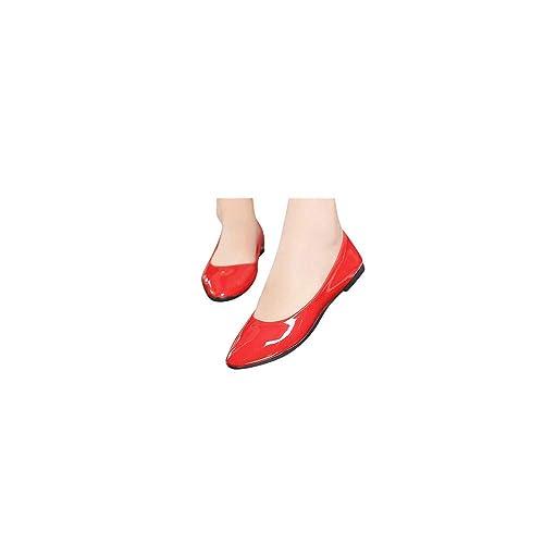 Damen Geschlossene Ballerinas Lackleder Flache Schuhe, Frauen Klassische Ballerinas Elegante Mokassins Bequeme Loafer Schöner Damenschuhe Celucke