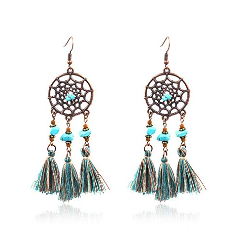 (KEXUAN BOHO Round Dream Catcher Earrings for Women and Girls, Bohemia Dangle Earrings with Tassel and Turquoise, Bohemian Style Designer Drop Earrings)
