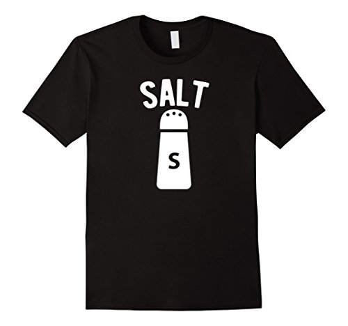 [Men's Salt - Salt And Pepper Matching Halloween Costume T-Shirt Medium Black] (Sister Brother Halloween Costume Ideas)