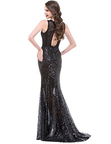 OYISHA Womens Long See Through Evening Dresses Sequined Mermaid Formal Gown SQ50