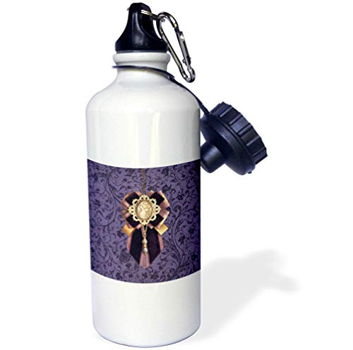 3dRose Beverly Turner Christmas Design - Cameo Christmas Decoration with Ribbon and Jewel Look, Purple and Gold - 21 oz Sports Water Bottle (wb_297178_1)