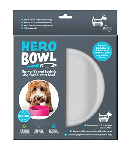- HOWND Hero Dog Bowl Pet Products- Antimicrobial Dog Bowl - Actively Kills Microbes, Such as Bacteria, Mold and Fungi, up to 99.99% on Bowls Surface- Hygienic Dog Bowl (Small, Urban Grey)
