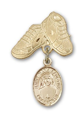 ReligiousObsession's 14K Gold Baby Badge with St. Maria Faustina Charm and Baby Boots Pin