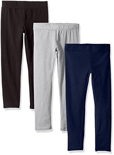 Clementine Apparel Big Ultra Soft 3 Pack Leggings for Girls, Black/Light Gray/Navy, 8