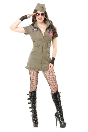 Top Gun Costume Womens Flight Dress (Charades Women's Tom Cat Seal Team Six Flight School Dress And Hat, Olive Green, Small)
