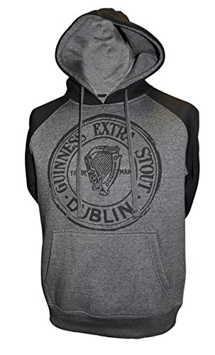 Guinness Grey Hoodie For Men and Woman With Phone Holder,No Pocket/Black/Grey,Large (Guinness Rugby Beer)
