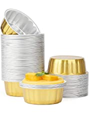 """Disposable Ramekins 8 oz, Beasea 100 Pack 3.9"""" Aluminum Foil Cups Bake Utility Ramekin Cup Souffle Cup Muffin Cupcake Baking Cup Mini Pudding Cups for Party Wedding Birthday - Gold"""