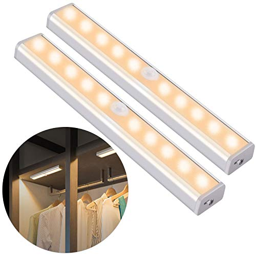 OUSFOT Under Cabinet Lighting, 10 LED Cupboard Lights Motion Sensor Indoor Wireless USB Rechargeable Battery with 4 Magnetic Strips for Closet/Wardrobe/Stairs/Wall Upgraded Version 2 Pack