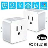 WiFi Smart Plug, Wsky Mini Smart Outlet 2 Pack, Compatible with Alexa & Google Home/IFTTT, APP Remote Control from Anywhere, No Hub Required, WiFi Enabled Voice Control Smart Socket