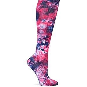 Nurse Mates Women's Compression Trouser Socks, Navy Magenta Tie Dye, XX