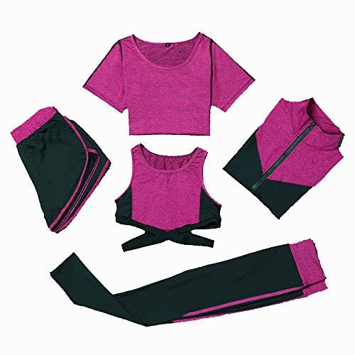 Women's activewear sets Women's Sports Suit 5pc/Sets Long Sleeve Short Sleeve Vest Leggings Pants Elasticity Fitness…