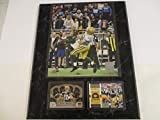 GREEN BAY PACKERS HAIL MARY MIRACLE PLAY PHOTO PLUS 2 CARDS FEATURING AARON RODGERS MOUNTED ON A 12' X 15' BLACK MARBLE WOOD PLAQUE