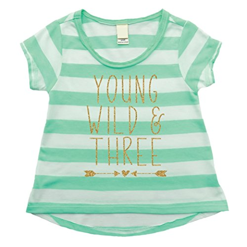 Bump and Beyond Designs Girl 3rd Birthday Shirt, Three Year Old Birthday Girl Outfit Green]()