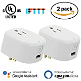 Avatar Controls UL Certified WiFi Smart Plug,Mini Wireless Timer Outlet Power Socket with USB Port,Work with Alexa/Google Assistant/IFTTT,Remote Control On/off Electrical Devices via APP 2-Pack