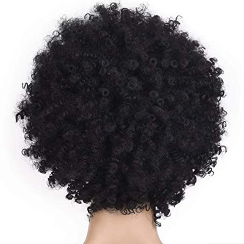 JYS Women Dark Short Curly Fluffy Wig Halloween Cosplay Wig Costume Party Wig Funny Wigs, Curly Wigs for Black Women, Short Pixie Wigs for Black Women (Black)
