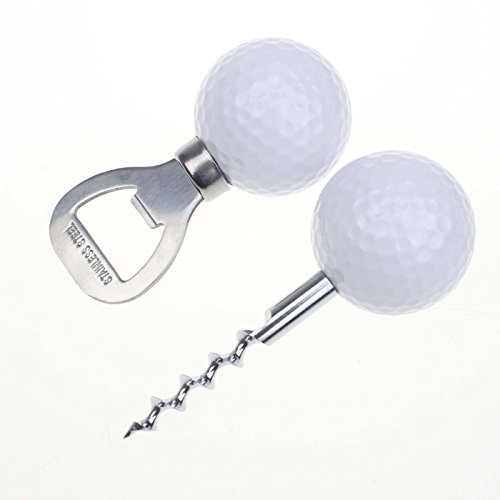 Golf Ball-Shaped Bottle Opener,Corkscrew Wine Opener Golfer Beer Gift Novelty Item for the Golf Lover and Beer Enthusiast(two openers in one pack) (white-white)]()
