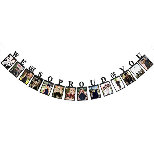 Hatcher lee We are So Proud of You Photo Banner-Perfect Graduation Announcement Decorations Party Supplies for Grad Party Bunting Black -