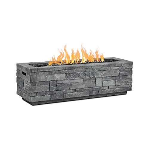 Real Flame CT0003LP-GLS Ledgestone Rectangle Fire Pit, Grey