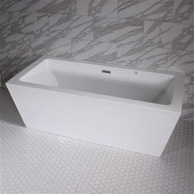 SanSiro 'Asti59CWJ' 59 x 34 inch Center Drain WATER JETTED High Gloss White ACRYLIC Freestanding Bathtub