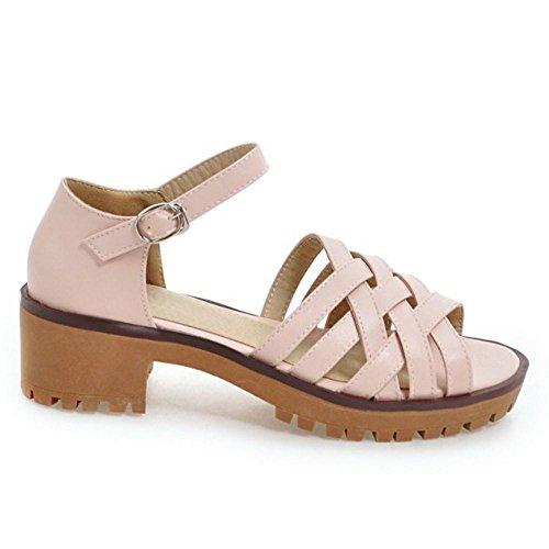 TAOFFEN Women Chunky Heel Sandals Pink DOfTUvASA