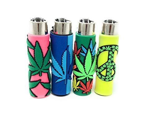 Clipper Eco Lighter 3-D Soft Touch Hemp Leaf 4 Pack- 4 Different Designs
