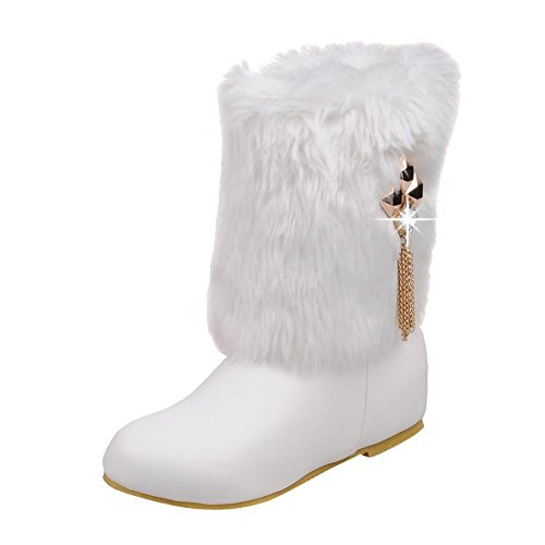 Mee Shoes Womens Chic Mid-Calf Faux-Fur Snow Boots White C0AOpfnmZ