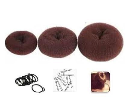 3 pz/molto Marrone moda spugna styling dei capelli chignon ring ciambella maker shaper 3 strumento di diverse dimensioni Boolavard® TM