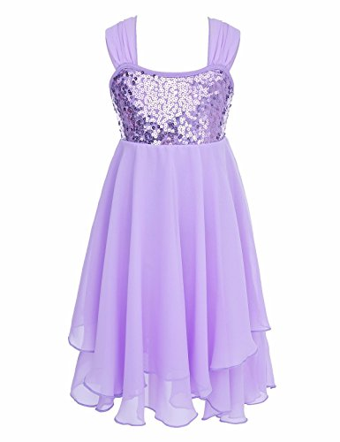 FEESHOW Girls Sequined Irregular Ballet Lyrical Dance Chiffon Dress Ballerina Dancing Costumes Gymnastics Leotard Lavender 6