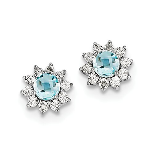 ICE CARATS 925 Sterling Silver Diamond Blue Topaz Post Stud Ball Button Earrings Fine Jewelry Gift For Women Heart by ICE CARATS