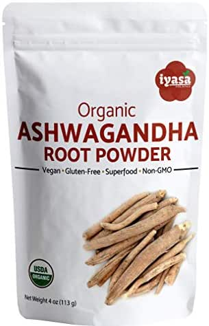 Organic Ashwagandha Powder, Withania Somnifera, Trial Pack of 4 Oz/112 Gm, Raw Superfood, Boosts Sleep and Energy, Always Fresh, Resealable Pouch of 4 oz / 113gm