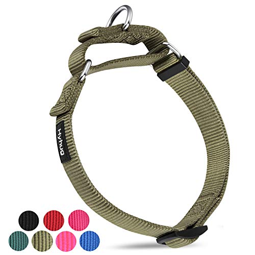 Hyhug Premium Upgraded Durable Nylon Anti-Escape Martingale Dog Collar for Medium Boy and Girl Dogs Comfy and Safe - Walking, Professional Training, Daily Use. (Medium, Military Green)