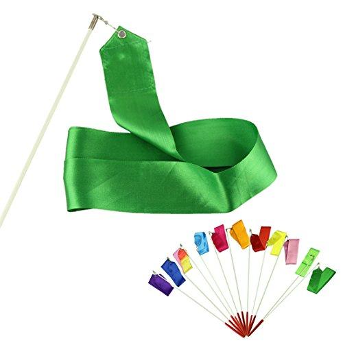 Voberry Nice Cute Dancing Ribbon Streamer Gym Rhythmic Rod Art Gymnastic Ballet Twirling Stick 4M (Green)